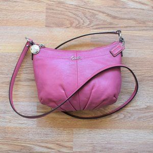 Coach Pink Mini Coated Leather Crossbody Bag